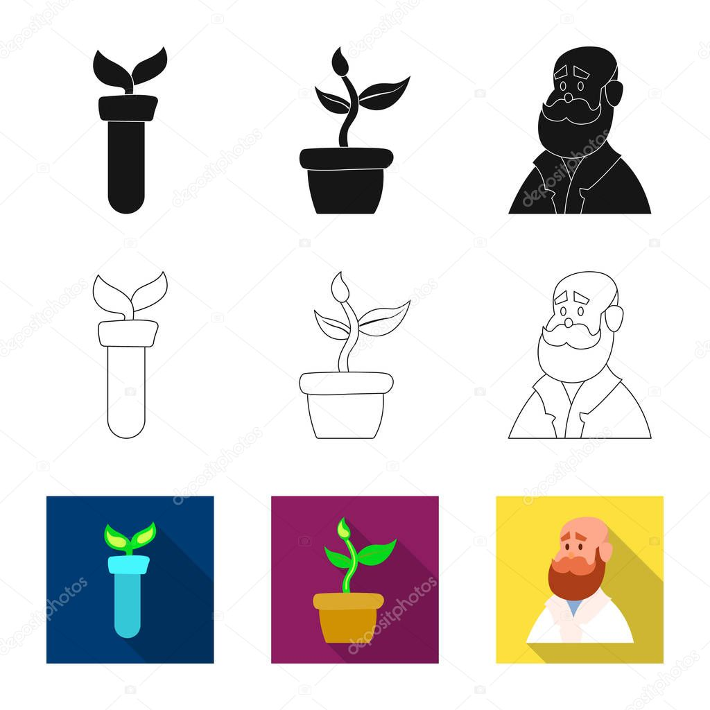 Vector design of genetic and plant icon. Collection of genetic and biotechnology stock symbol for web.