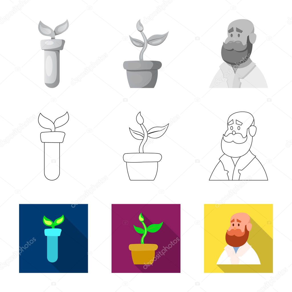 Vector illustration of genetic and plant logo. Collection of genetic and biotechnology stock symbol for web.