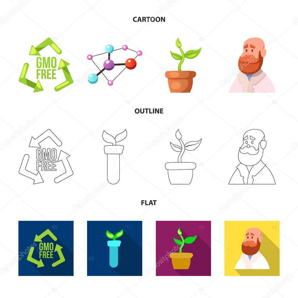 Vector illustration of genetic and plant icon. Collection of genetic and biotechnology stock vector illustration.