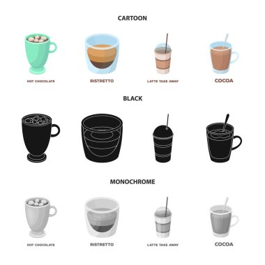Ristretto, hot chocolate, latte take-away.Different types of coffee set collection icons in cartoon,black,monochrome style vector symbol stock illustration web.