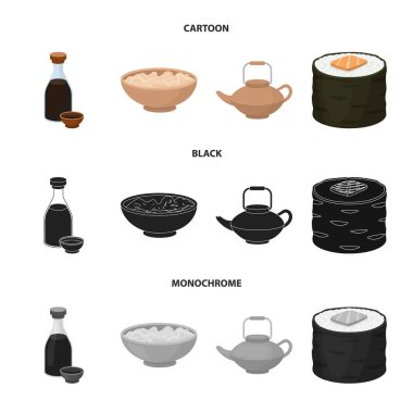 Soy sauce, noodles, kettle.rolls.Sushi set collection icons in cartoon,black,monochrome style vector symbol stock illustration web.