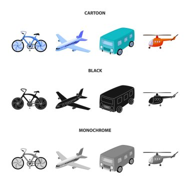 Bicycle, airplane, bus, helicopter types of transport. Transport set collection icons in cartoon,black,monochrome style vector symbol stock illustration web.
