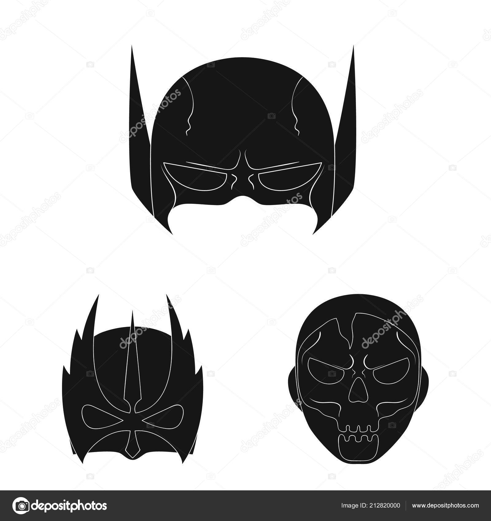 Isolated Object Of Hero And Mask Sign Set Of Hero And Superhero