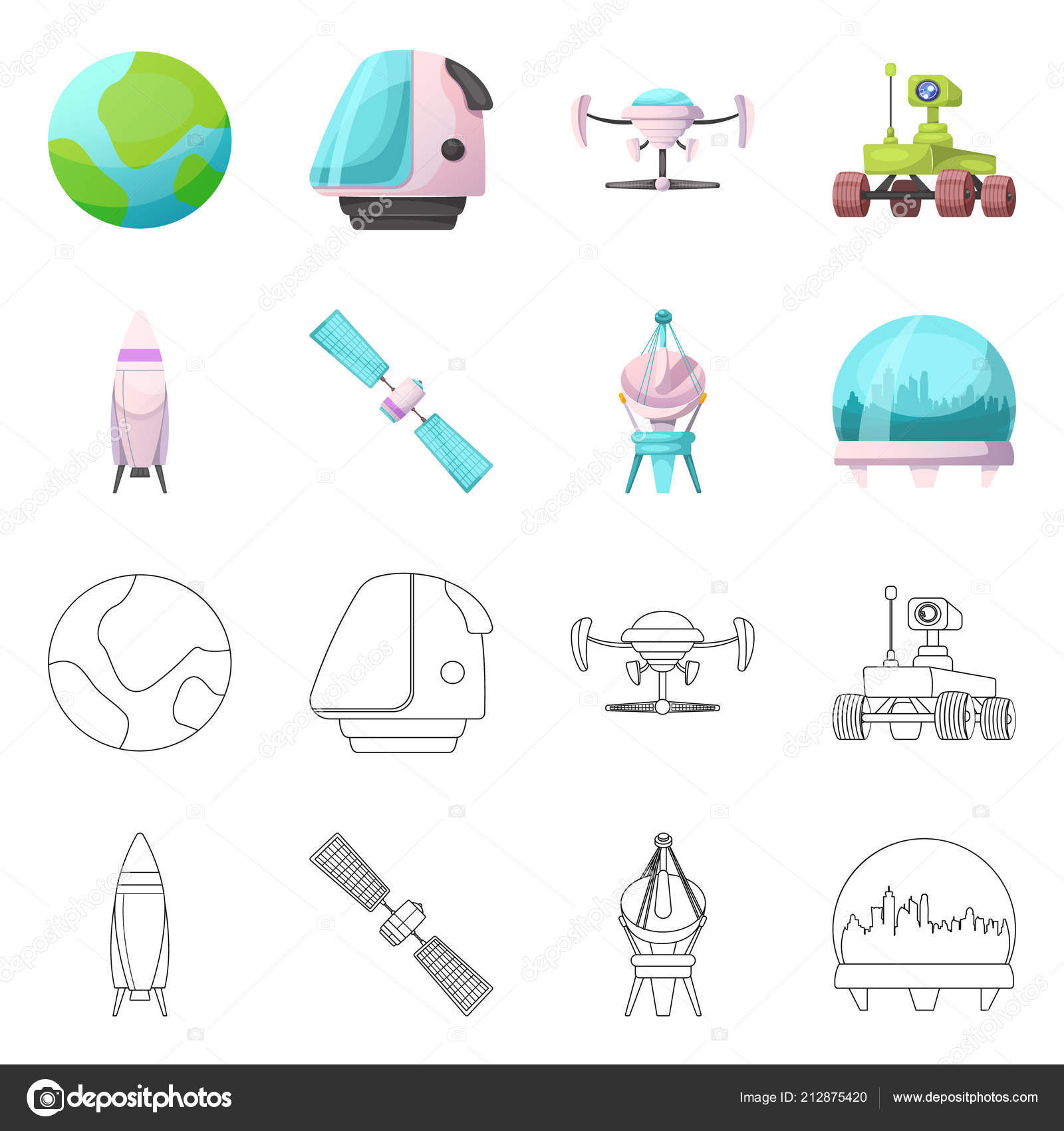 Vector Design Of Mars And Space Icon Collection Of Mars And Planet