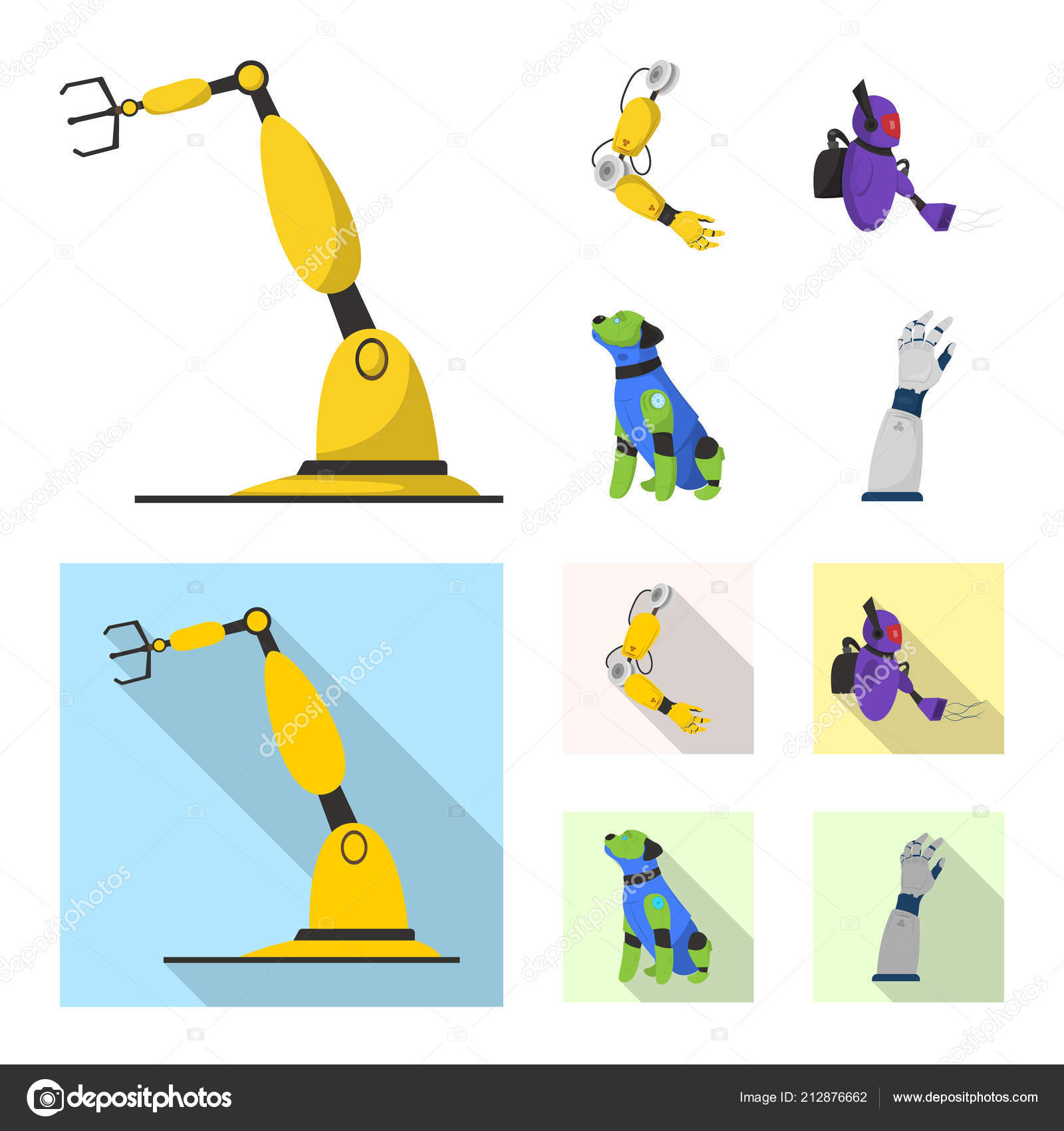 Vector Illustration Of Robot And Factory Symbol Set Of Robot And