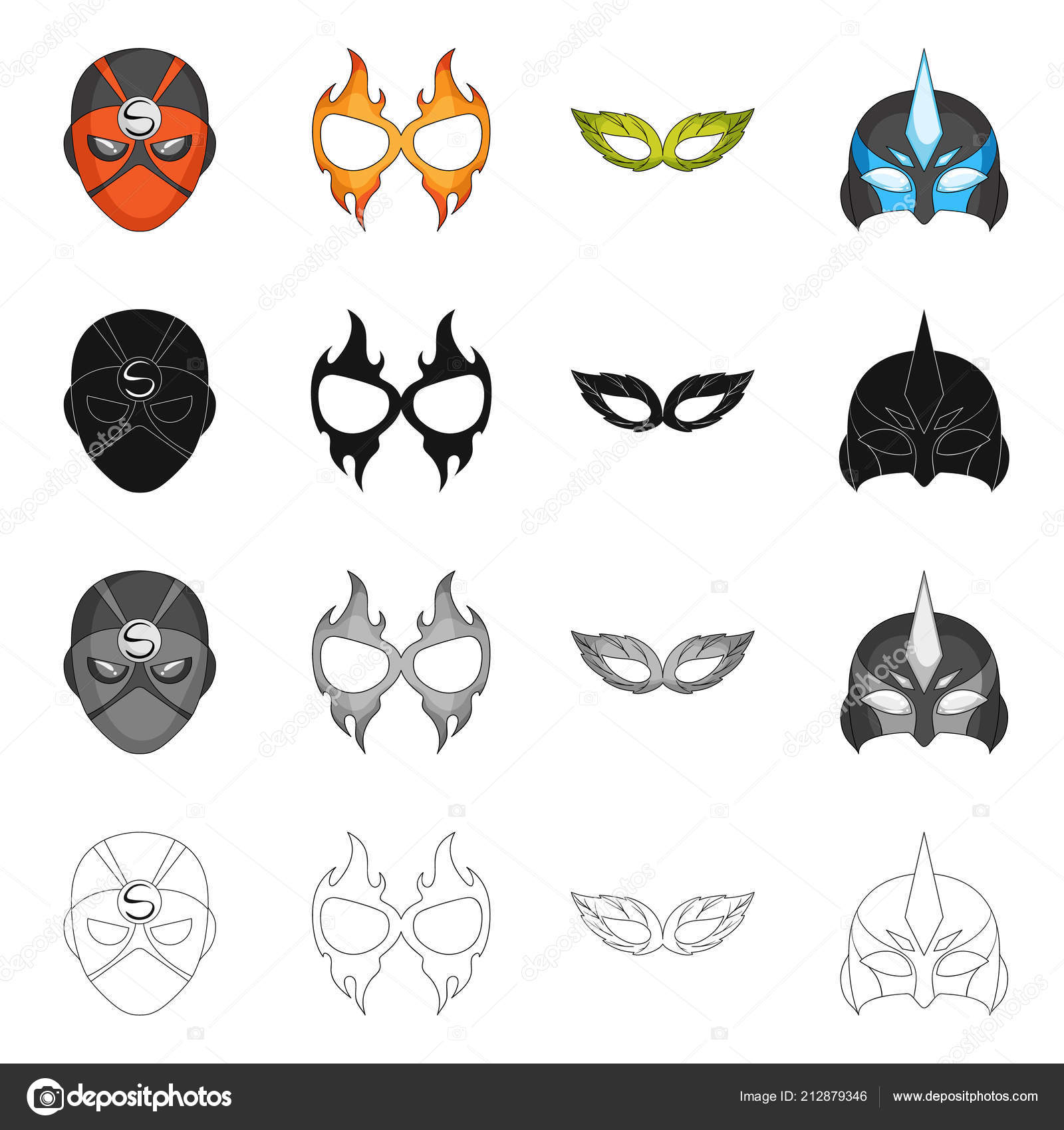Vector Design Of Hero And Mask Logo Set Of Hero And Superhero Stock