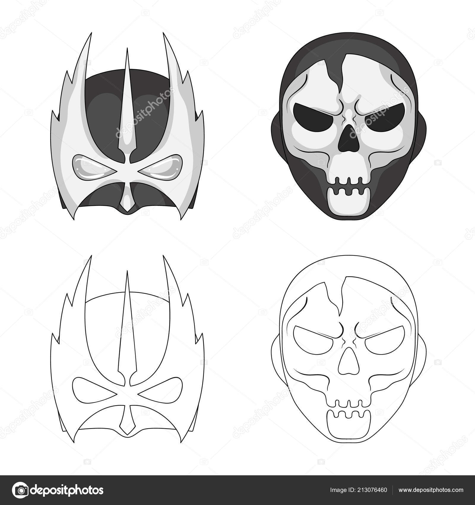 Isolated Object Of Hero And Mask Symbol Set Of Hero And Superhero