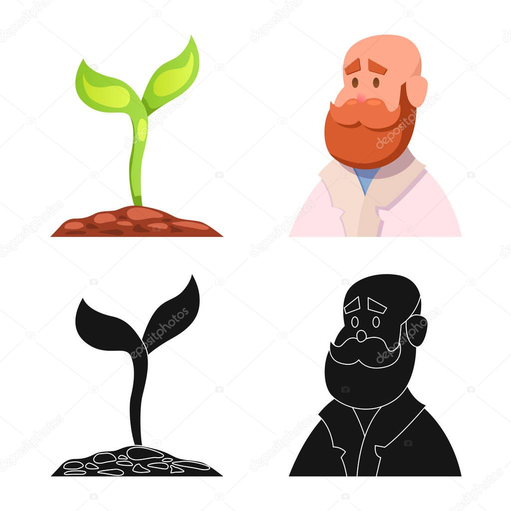 Isolated object of genetic and plant sign. Collection of genetic and biotechnology stock symbol for web.