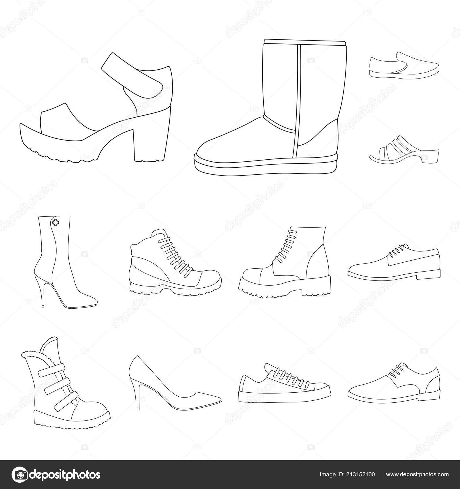 Esquema Diseño De Iconos Set Diferentes Zapatos Colección Del qw1SfRF