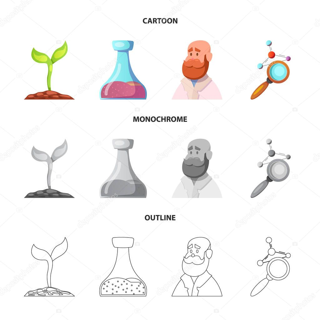 Vector design of genetic and plant logo. Set of genetic and biotechnology stock vector illustration.