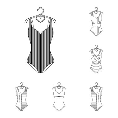 Different types of swimsuits outline icons in set collection for design. Swimming accessories vector symbol stock web illustration.