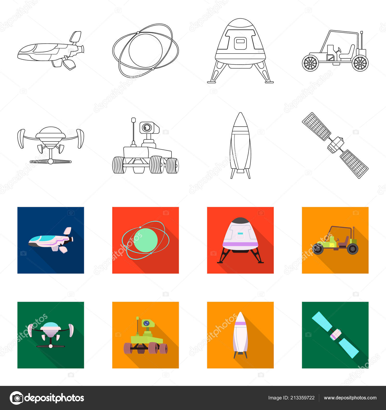Vector Design Of Mars And Space Sign Collection Of Mars And Planet