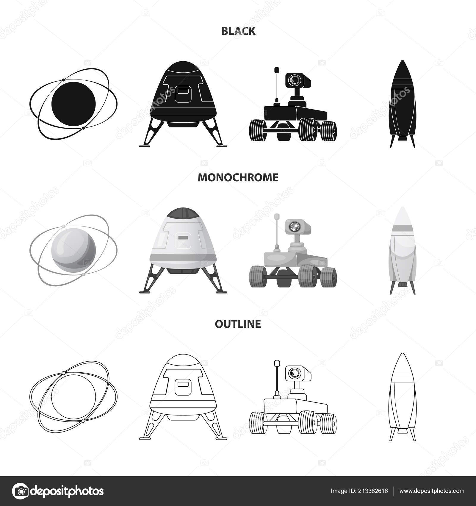 Vector Design Of Mars And Space Symbol Set Of Mars And Planet