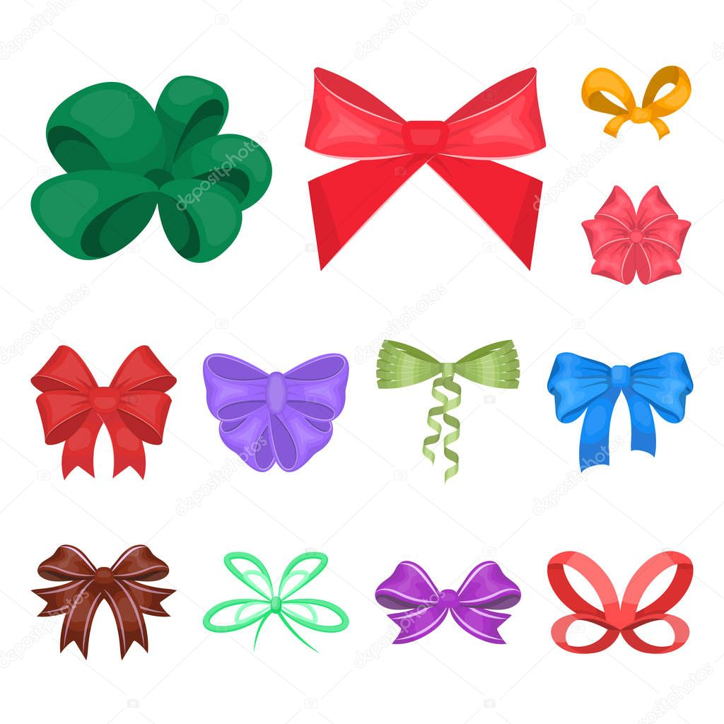 Multicolored bows cartoon icons in set collection for design.Bow for decoration vector symbol stock web illustration.