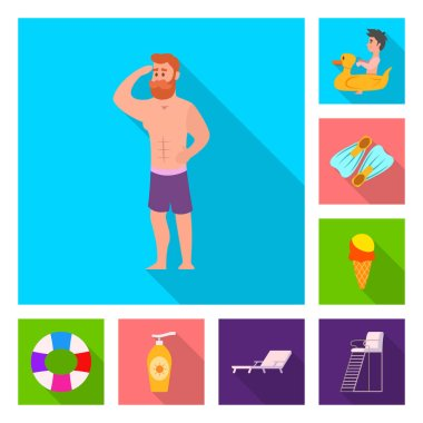 Vector design of pool and swimming icon. Collection of pool and activity vector icon for stock.