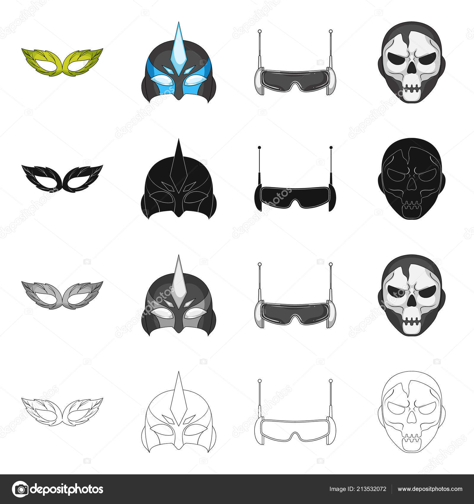 Vector Design Of Hero And Mask Sign Collection Of Hero And