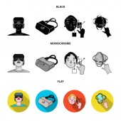 Innovation, man, head, hand .Virtual reality set collection icons in black, flat, monochrome style vector symbol stock illustration web.