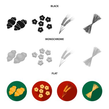 Different types of pasta. Types of pasta set collection icons in black, flat, monochrome style vector symbol stock illustration web.
