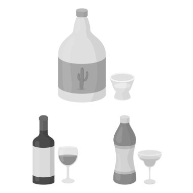 Types of alcohol monochrome icons in set collection for design. Alcohol in bottles vector symbol stock web illustration.