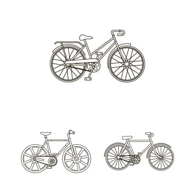 Various bicycles outline icons in set collection for design. The type of transport vector symbol stock  illustration.