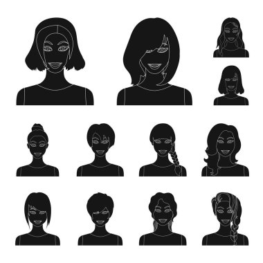 Types of female hairstyles black icons in set collection for design. Appearance of a woman vector symbol stock web illustration.