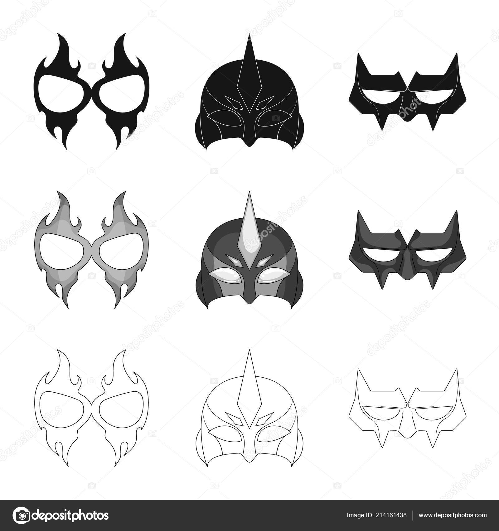 Vector Design Hero Mask Icon Set Hero Superhero Stock Symbol Stock