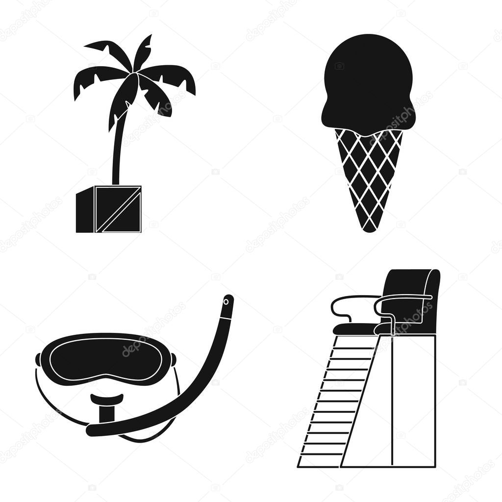 Vector illustration of pool and swimming sign. Collection of pool and activity stock vector illustration.