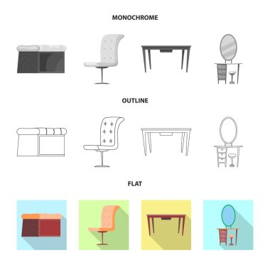 Vector design of furniture and apartment sign. Collection of furniture and home stock vector illustration.