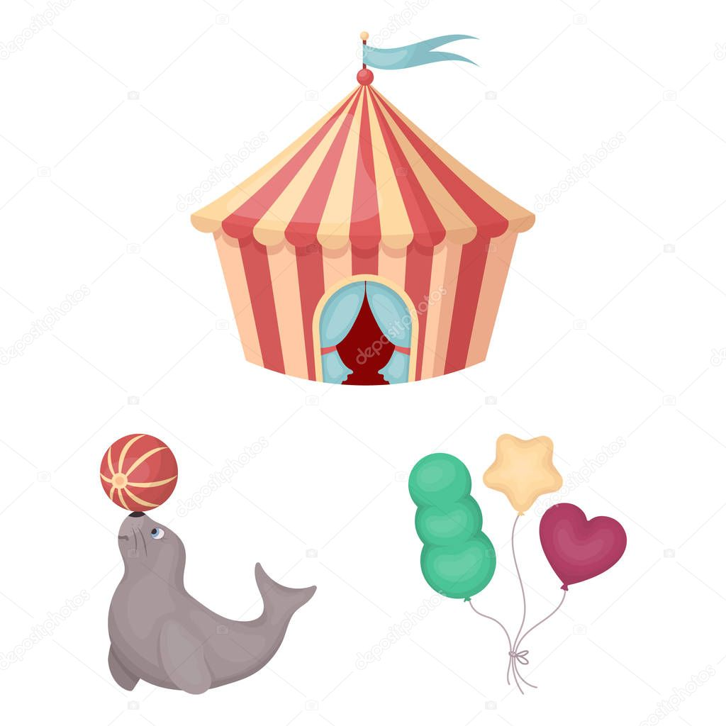 Circus and attributes cartoon icons in set collection for design. Circus Art vector symbol stock web illustration.