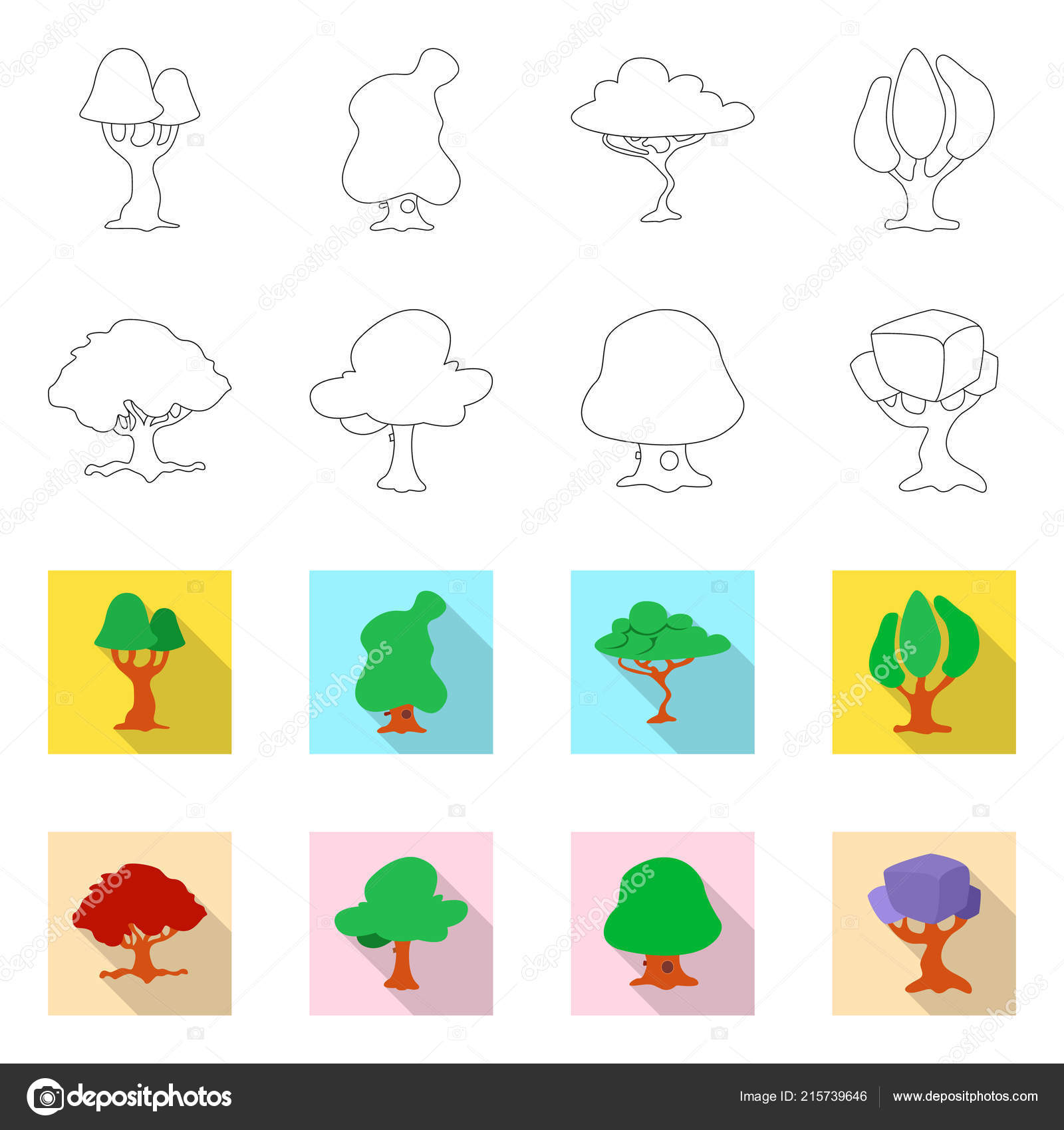 Vector Design Of Tree And Nature Symbol Set Of Tree And Crown Stock