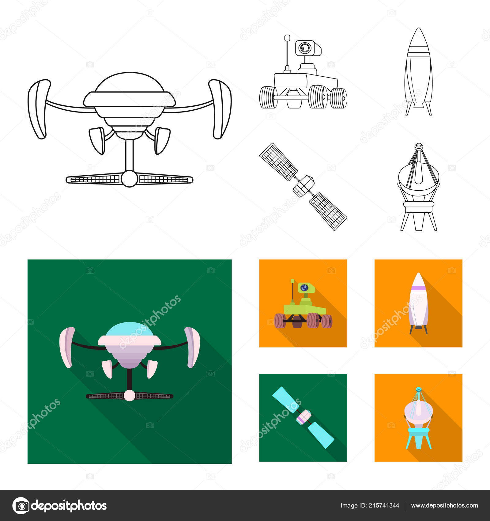Vector Design Of Mars And Space Symbol Set Of Mars And Planet Stock