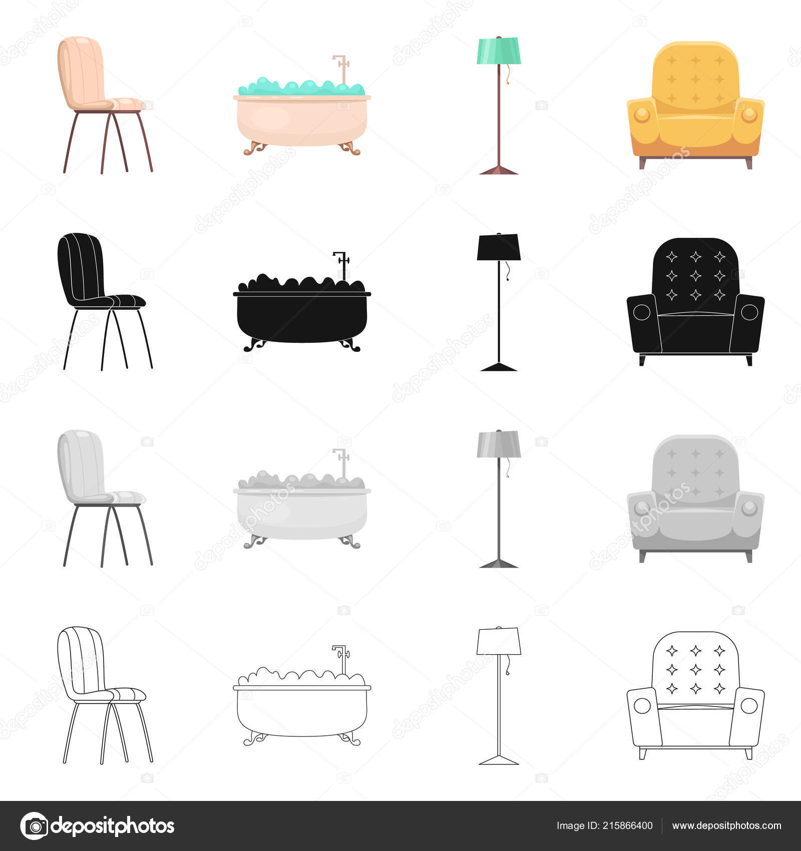 Sensational Vector Design Of Furniture And Apartment Icon Set Of Cjindustries Chair Design For Home Cjindustriesco