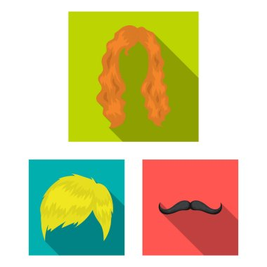 Mustache and beard, hairstyles flat icons in set collection for design. Stylish haircut vector symbol stock  illustration.