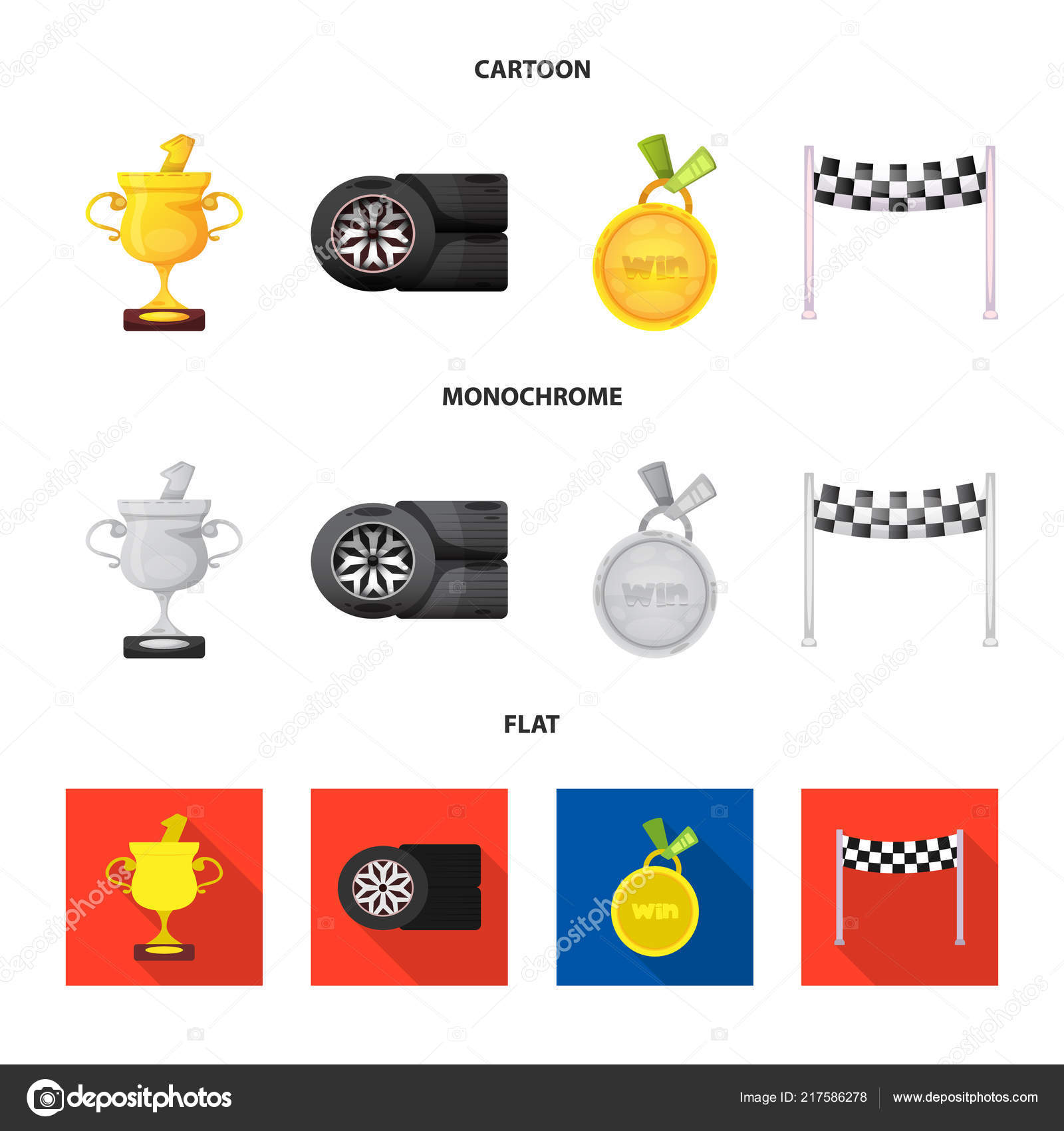 Isolated Object Of Car And Rally Symbol Set Of Car And Race Stock