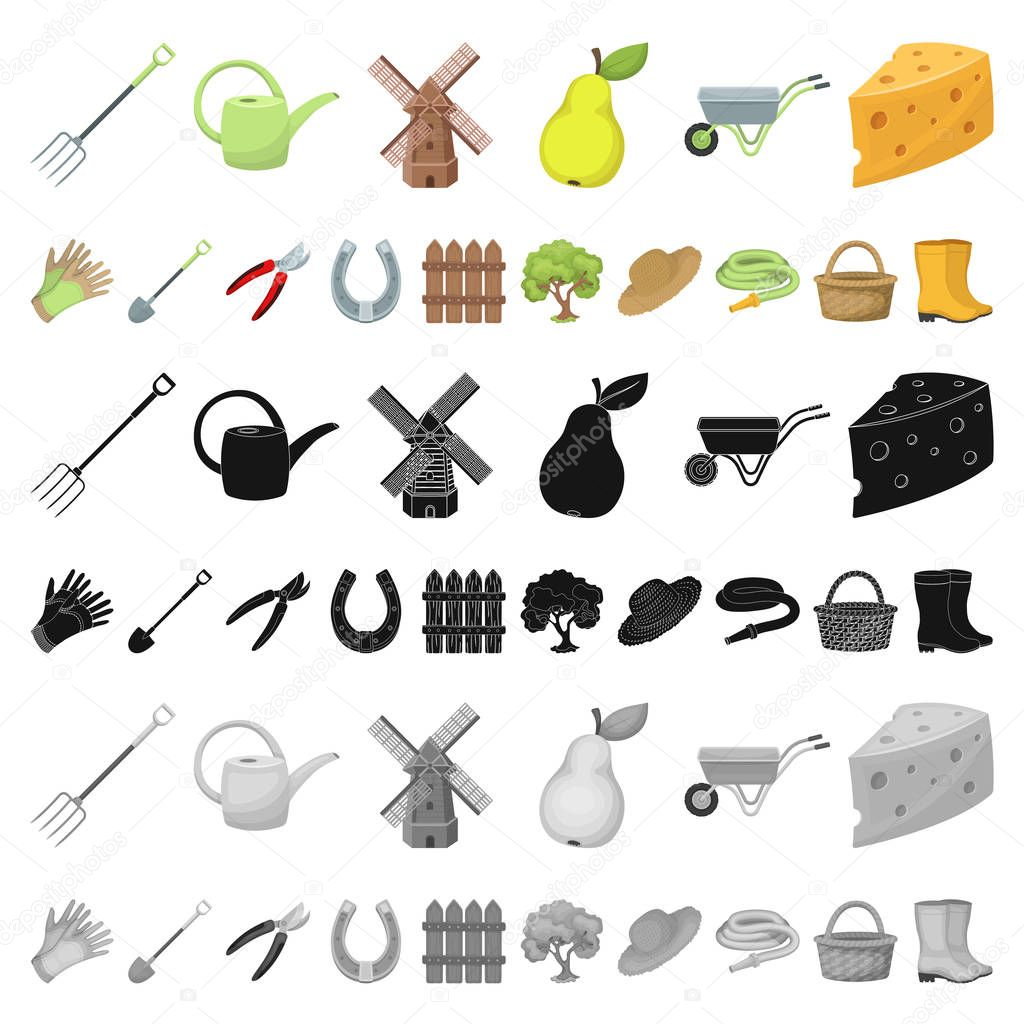 Farm and gardening cartoon icons in set collection for design. Farm and equipment vector symbol stock web illustration.