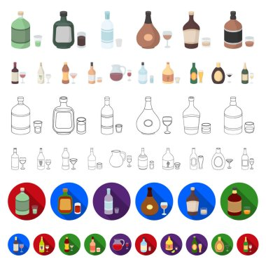 Types of alcohol cartoon icons in set collection for design. Alcohol in bottles vector symbol stock  illustration.