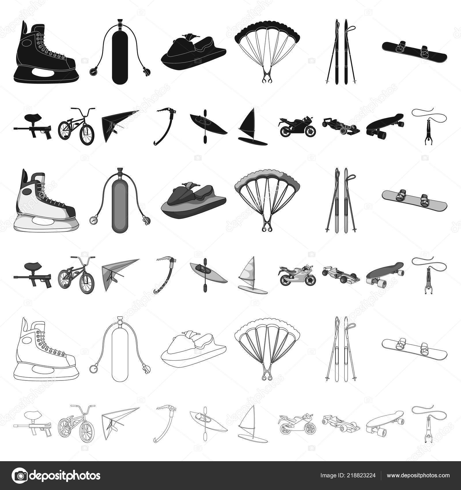 Extreme Sport Cartoon Icons In Set Collection For Design Different