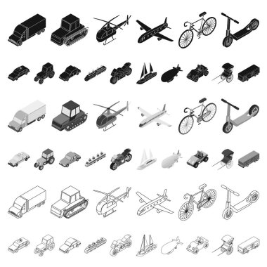 Different types of transport cartoon icons in set collection for design. Car and ship isometric vector symbol stock web illustration.