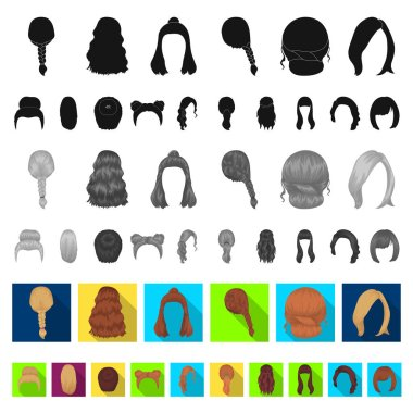 Female hairstyle flat icons in set collection for design. Stylish haircut vector symbol stock web illustration.