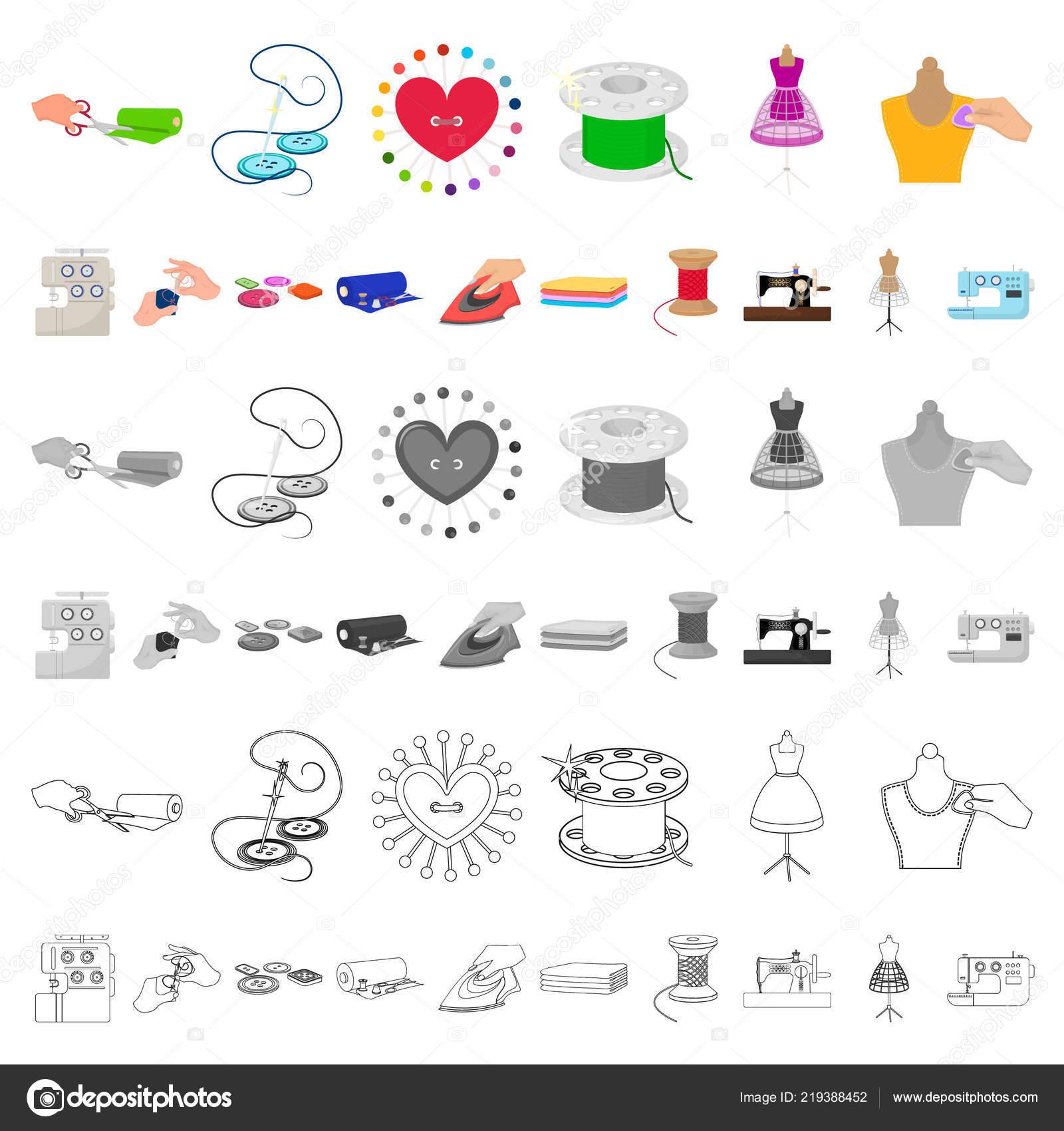 a48fed3382a Ateliér a vybavení karikatura ikony v nastavení kolekce pro design. Šití oblečení  vektor symbol akcií web ilustrace– stock ilustrace