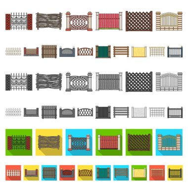 Different fence cartoon icons in set collection for design.Decorative fencing vector symbol stock web illustration.