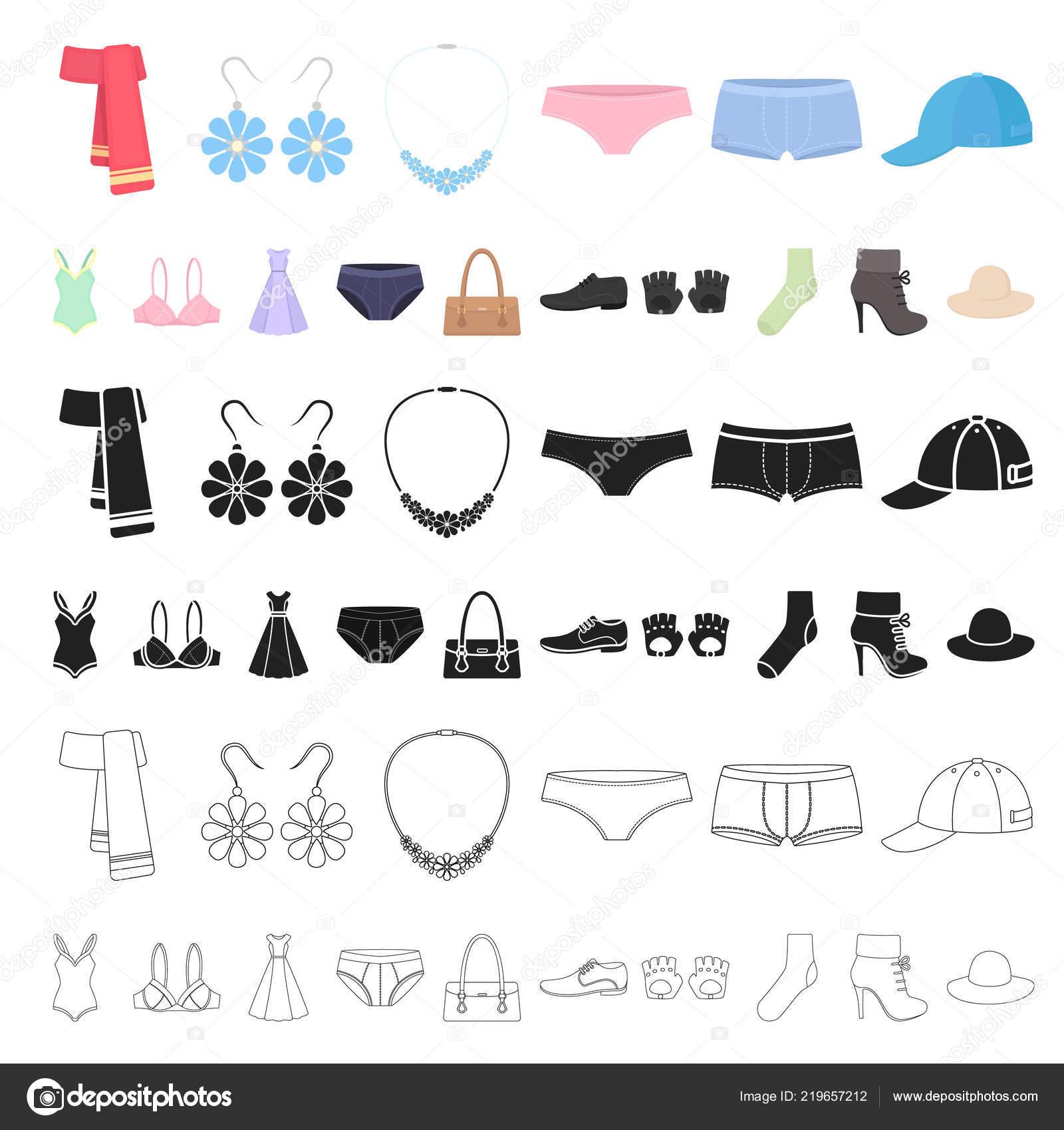 best website bcb0d cd844 Kleidung und Accessoires Comic-Ikonen im Set Sammlung für ...