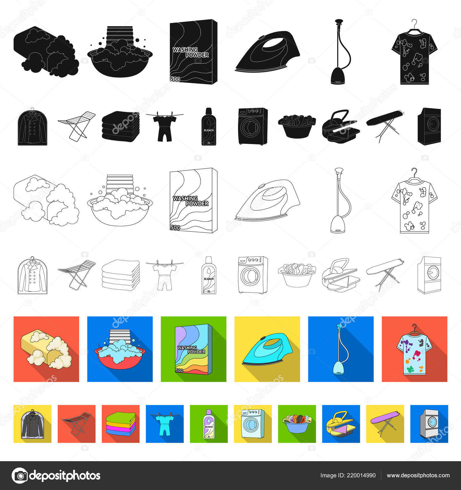 Dry Cleaning Equipment Flat Icons In Set Collection For Design