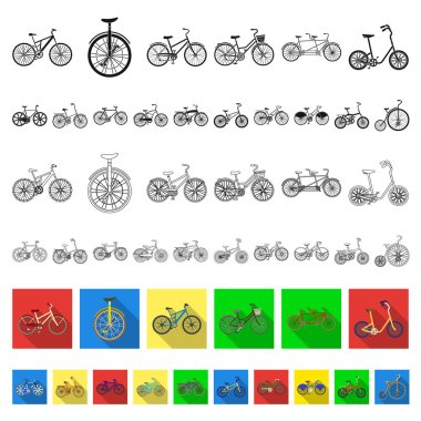 Various bicycles flat icons in set collection for design. The type of transport vector symbol stock web illustration.
