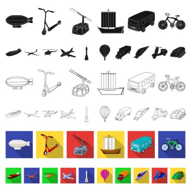 Different types of transport flat icons in set collection for design. Car and ship vector symbol stock web illustration.
