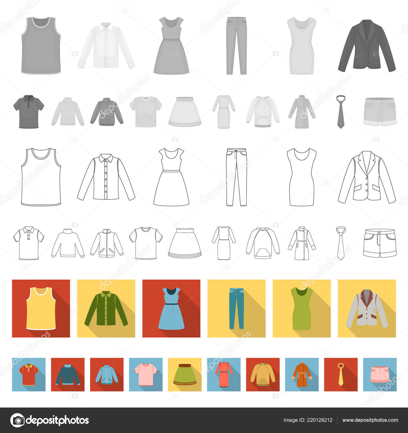 Kinds Of Design In Clothing | Different Kinds Of Clothes Flat Icons In Set Collection For Design