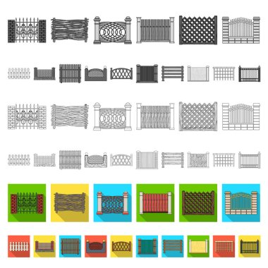 Different fence flat icons in set collection for design.Decorative fencing vector symbol stock web illustration.