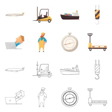 Isolated object of goods and cargo symbol. Collection of goods and warehouse stock vector illustration.