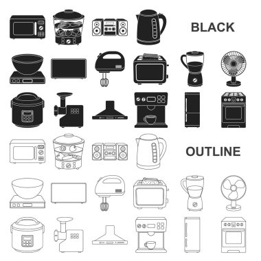 Types of household appliances black icons in set collection for design.Kitchen equipment vector symbol stock web illustration.