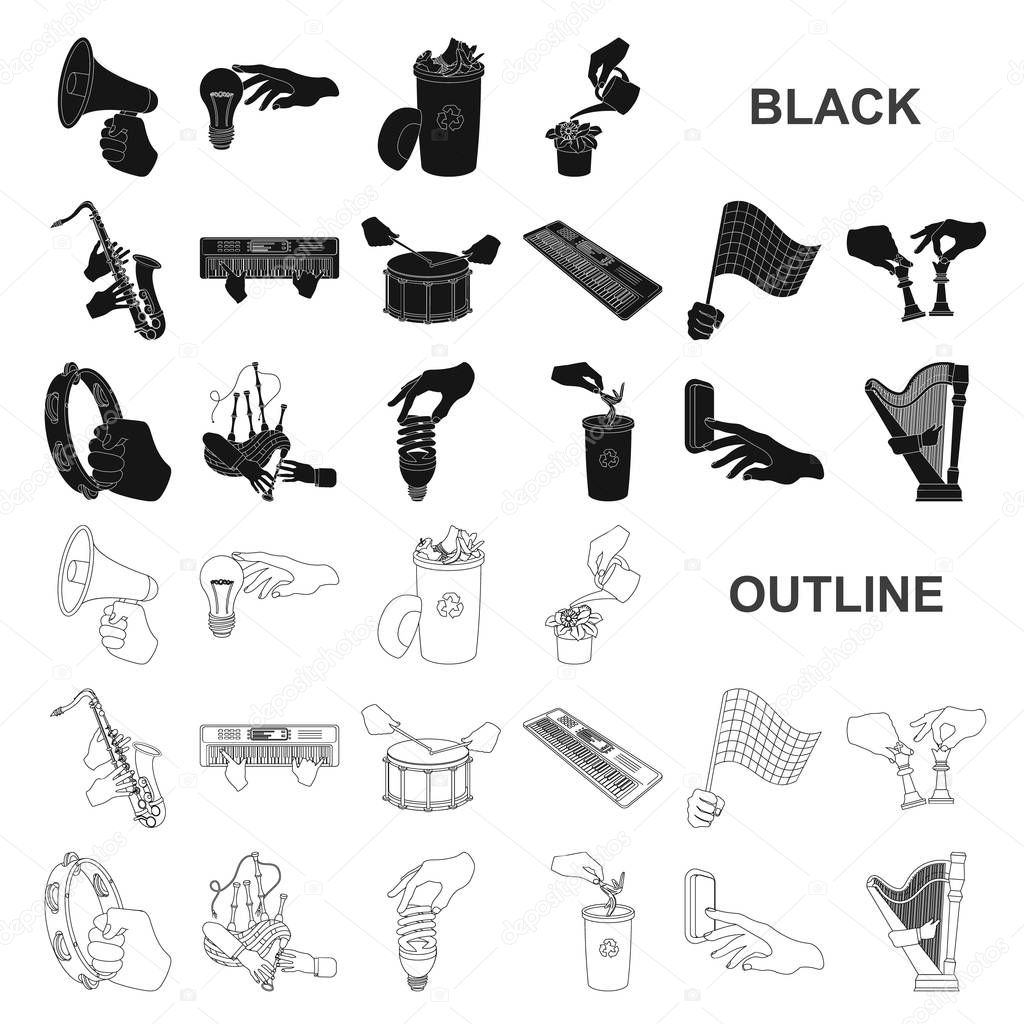 Manipulation by hands black icons in set collection for design. Hand movement vector symbol stock web illustration.